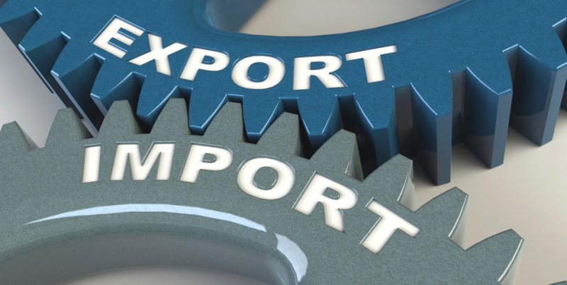 Two cog wheels showing export and import working together