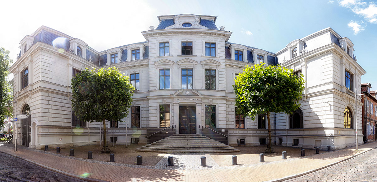 The Ministry of Justice of the State of Mecklenburg-Vorpommern, photographed with wide-angle lens